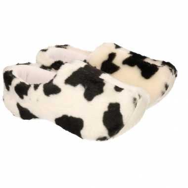 Klompen  Pluche sloffen koe print